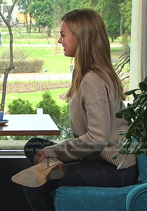 Hannah's beige distressed sweater on The Bachelorette