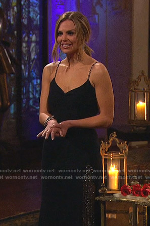 Hannah's black chain strap gown on The Bachelorette