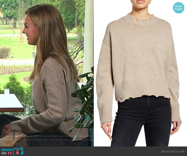 Distressed Crewneck Pullover Sweater by Helmut Lang worn by Hannah Brown  on The Bachelorette