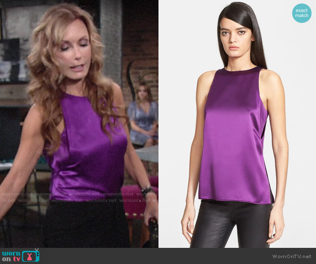 Helmut Lang Mere Silk Tank worn by Lauren Fenmore (Tracey Bregman) on The Young & the Restless