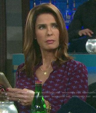 Hope's burgundy printed blouse on Days of our Lives