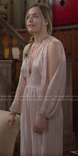 Hope's pink plunge neck jumpsuit on The Bold and the Beautiful