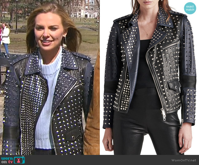 Studded Leather Biker Jacket by Hudson worn by Hannah Brown  on The Bachelorette