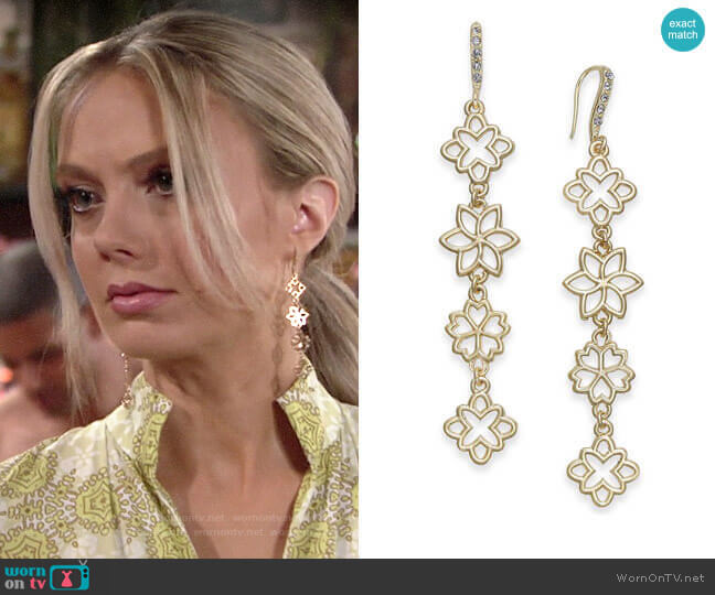 INC International Concepts Flower Linear Drop Earrings worn by Abby Newman (Melissa Ordway) on The Young & the Restless