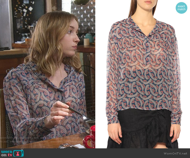 Printed Silk Blouse by Isabel Marant Etoile worn by Phoebe Dynevor on Younger