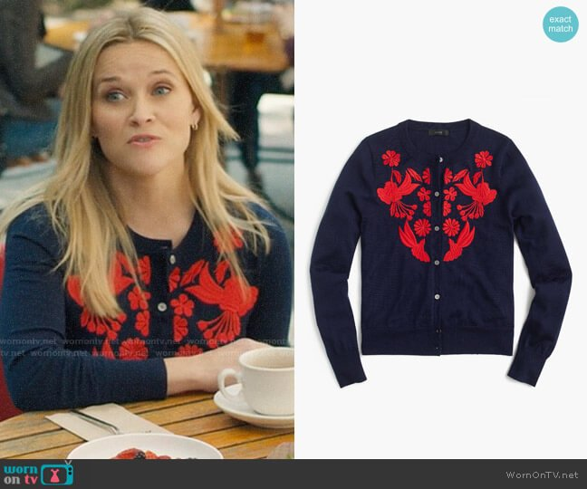 J. Crew Lightweight wool Jackie cardigan with embroidery worn by Madeline Martha Mackenzie (Reese Witherspoon) on Big Little Lies