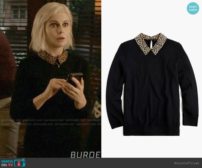 J. Crew Tippi Sweater with Leopard Collar worn by Liv Moore (Rose McIver) on iZombie