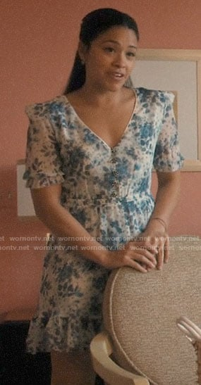 Jane's blue and white floral dress on Jane the Virgin