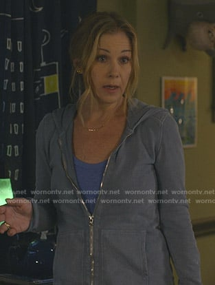 Jen's blue zip-up hoodie on Dead to Me