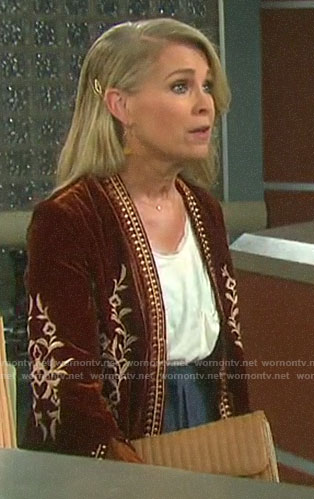 Jennifer's orange velvet embroidered jacket on Days of our Lives