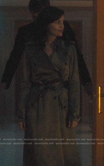 Jett's olive green satin trench coat on Jett