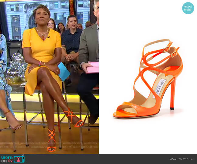 Lang Patent Strappy Sandal by Jimmy Choo worn by Robin Roberts  on Good Morning America