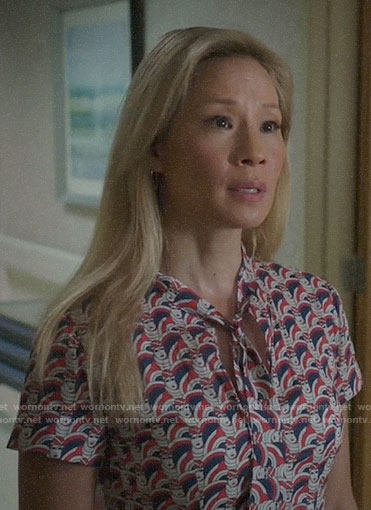 Joan's face print tie-neck dress on Elementary