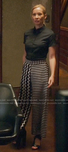 Joan's mixed stripe wide leg pants on Elementary