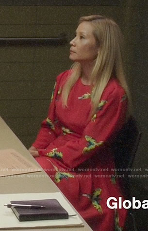 Joan's red bird print dress on Elementary