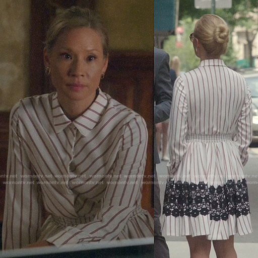 Joan's striped shirtdress with lace on Elementary