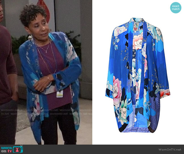 Johnny Was Patterned Rayon Kimono worn by Stella Henry (Vernee Watson) on General Hospital