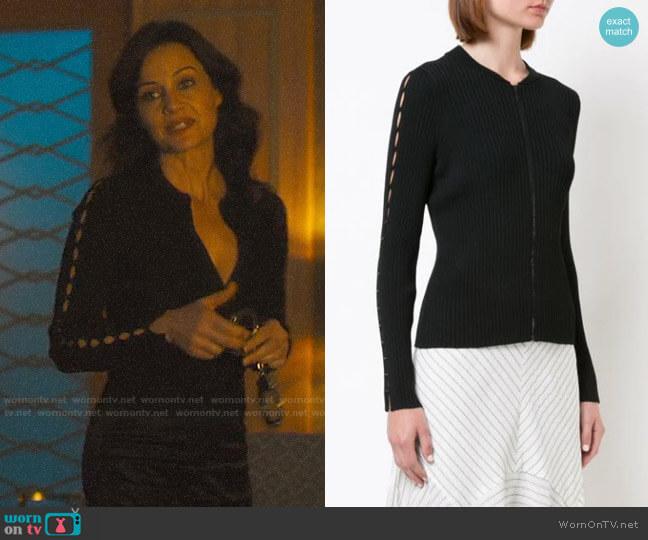Jonathan Simkhai Cutout Sleeve Zipped Sweater worn by Daisy Kowalski (Carla Gugino) on Jett