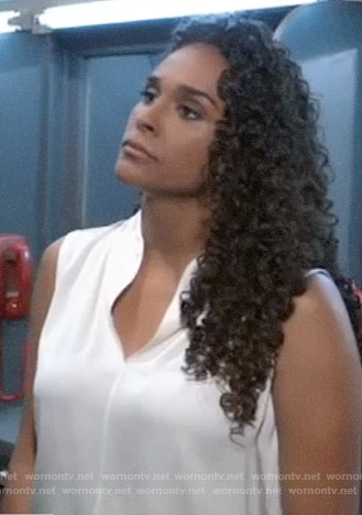 Jordan's white sleeveless top on General Hospital
