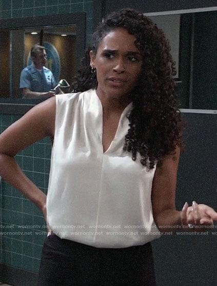 Jordan's white sleeveless top on General Hospital