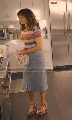 Judy's striped tee and denim skirt on Dead to Me