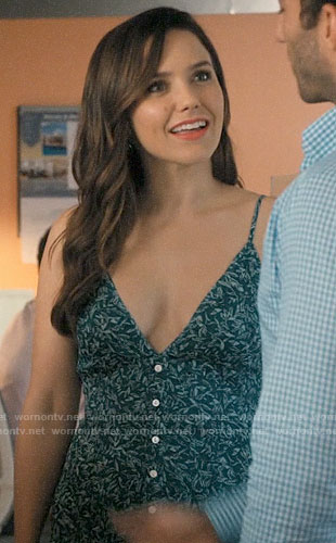 Julie's green printed button-front midi dress on Jane the Virgin