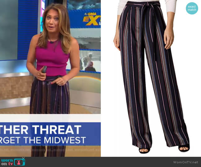 Satin Striped Wide-Leg Pants by Karen Millen worn by Ginger Zee  on Good Morning America