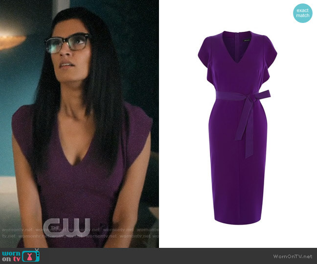 Karen Millen Ruffled Sleeve Dress worn by Krishna (Shelly Bhalla) on Jane the Virgin