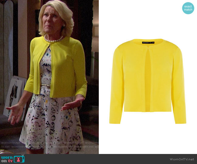 Karen Millen Yellow Open-Front Cardigan worn by Pamela Douglas (Alley Mills) on The Bold & the Beautiful