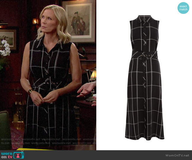 Karen Millen Oversized Check Maxi Dress worn by Brooke Logan (Katherine Kelly Lang) on The Bold & the Beautiful