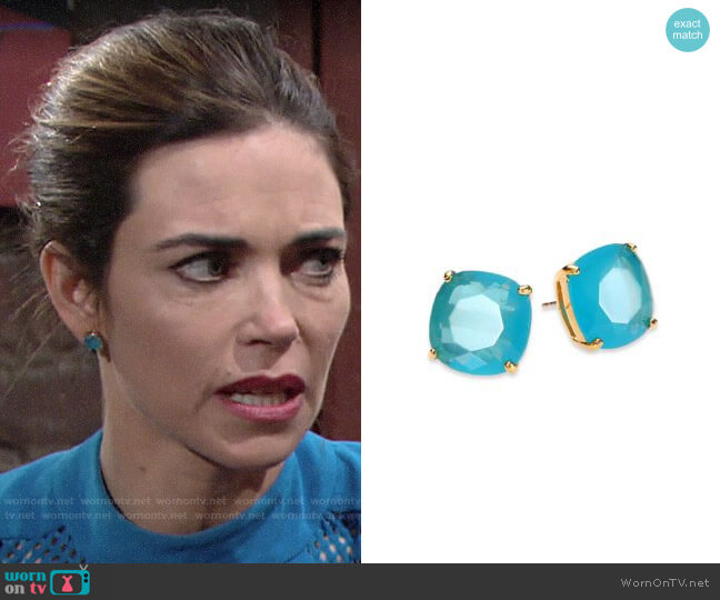 Kate Spade Mini Small Square Stud Earrings worn by Victoria Newman (Amelia Heinle) on The Young & the Restless