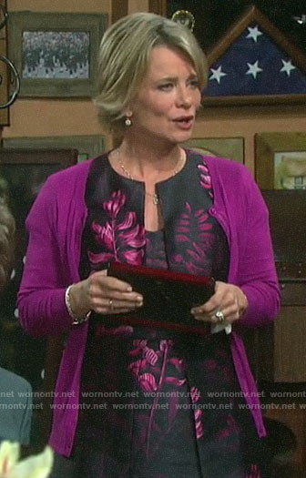 Kayla's black and pink floral dress on Days of our Lives
