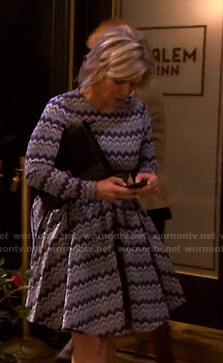 Kayla's blue zig zag dress on Days of our Lives