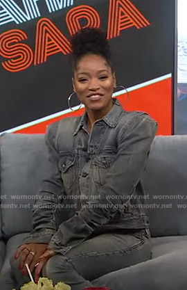 Keke's grey gathered sleeve denim jacket on GMA Strahan And Sara