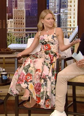 Kelly's floral midi dress on Live with Kelly and Ryan