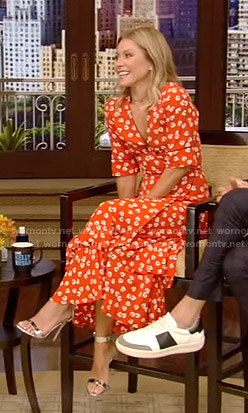 Kelly's red floral print wrap dress on Live with Kelly and Ryan