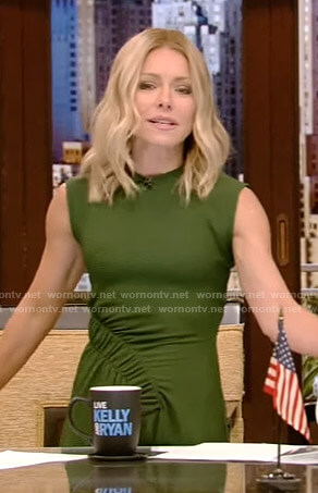 Kelly's green ruched dress on Live with Kelly and Ryan