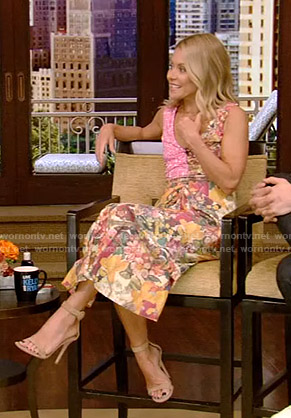 Kelly's mixed floral print dress on Live with Kelly and Ryan