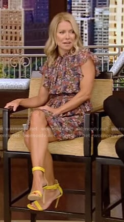Kelly's floral print ruffled dress on Live with Kelly and Ryan