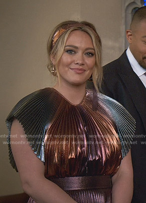 Kelsey's metallic pleated gown on Younger