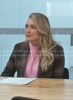 Kelsey's pink top and plaid blazer on Younger