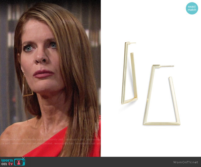 Kendra Scott Easton Geo Hoop Earrings worn by Phyllis Summers (Michelle Stafford) on The Young & the Restless
