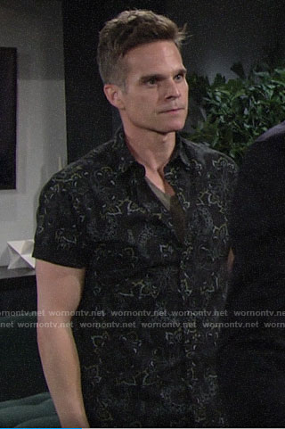 Kevin's black floral shirt on The Young and the Restless