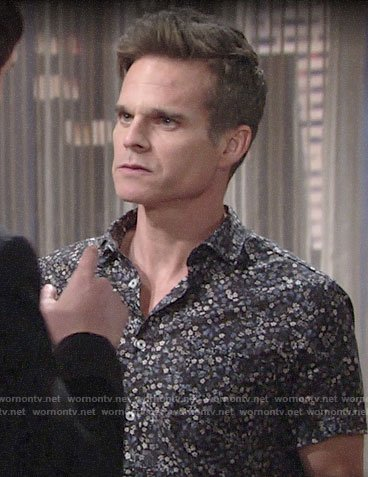 Kevin's blue floral shirt on The Young and the Restless