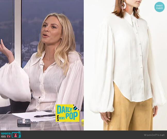 Bishop Sleeve Shirt by Khaite worn by Morgan Stewart  on E! News