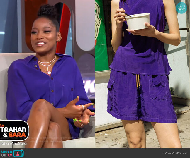 Camp Short in Grape by KkCo worn by Keke Palmer  on Good Morning America