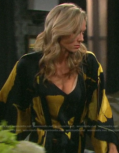 Kristen's black and yellow floral robe and slip on Days of our Lives