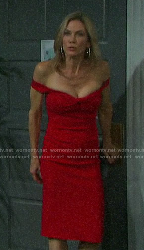 Kristen's red off-shoulder dress on Days of our Lives