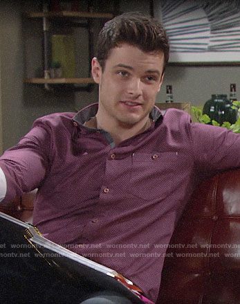 Kyle's purple printed button down shirt on The Young and the Restless