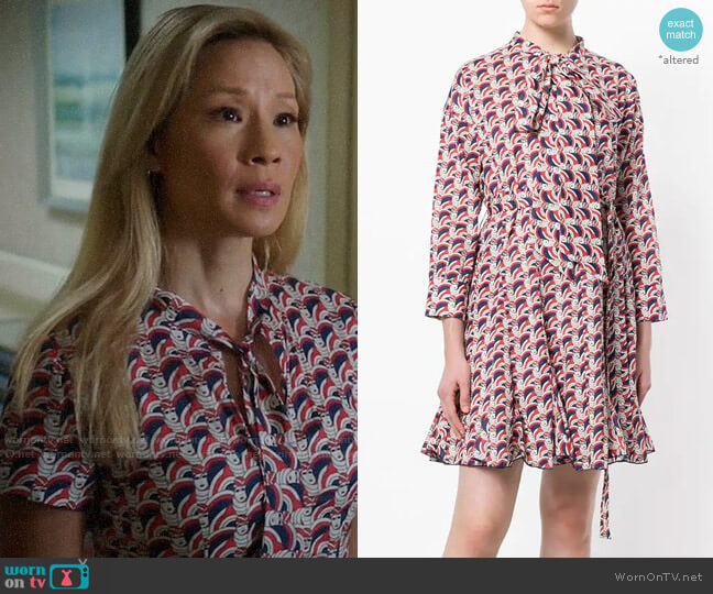 La Doublej Short Print Shirt Dress worn by Joan Watson (Lucy Liu) on Elementary